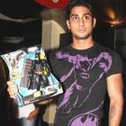 Prateik Poses With a Batman Action Figure During The Dark Knight Rises Screening