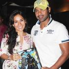 Shabbir Ahluwalia with wife Kanchi Kaul at The Dark Knight Rises Screening