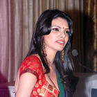 Sherlyn Chopra Sexy Red Blouse Pic at Playboy Press Meet