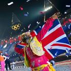 A Bhangra Performer Watches The Fireworks Show at the Closing Ceremony of the London Olympic Games Reuters