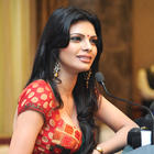 Hot Sherlyn Chopra Sizzles in Saree at Playboy Press Meet