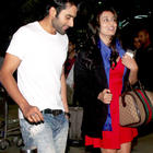 Jackky And Nidhi Nice Look With Cute Smiling Still At Airport