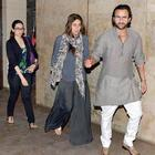 Karisma,Kareena With Hubby Saif Spotted At The Special Screening Of Go Goa Gone Movie