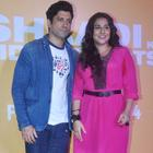 Vidya And Farhan At The Trailer Launch Of Shaadi Ke Side Effects Movie