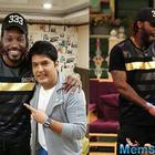 Mika Singh,Kanika Kapoor and Chris Gayle on the sets of The Kapil Sharma Show