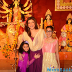 Sushmita Sen and her daughters Renee and Alisah seek blessings from Maa Durga