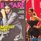 Deepika looking majestic in a black gown at the launch of this latest magazine cover