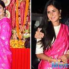Katrina Kaif bonds with director Ayan Mukerji during durga puja
