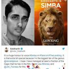 Siddharth to lend his voice for an important character in The Lion King Tamil version