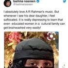 Here's what A R Rahman has to say about daughter Khatija after she gets criticised by Taslima Nasreen for wearing a burqa