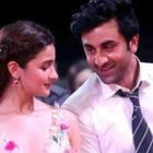 Alia Bhatt receives a kiss on the cheek of boyfriend Ranbir Kapoor