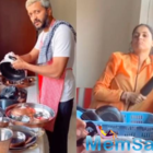 Riteish Desmukh washes dishes as Genelia D'Souza keeps an eye with a belen in her hand