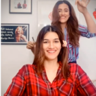 Kriti Sanon gets a haircut by sister Nupur Sanon, Have a look here!