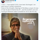 Amitabh Bachchan: I have tested covid-19 negative, have been discharged and back home