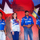 Sachin Tendulkar,Nita Ambani and Harbhajan Singh at Mumbai Indians Mickey Merchandise Launch