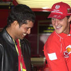 Sachin Tendulkar with Michael Schumacher