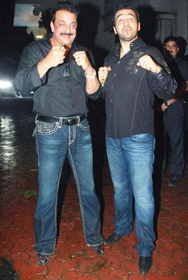 Raj Kundra With Sanjay Dutt at His Birthday Bash Hosted by His Wife Shilpa Shetty
