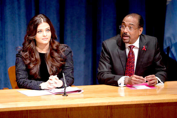 Aishwarya and Michel at UN Programme On AIDS and HIV