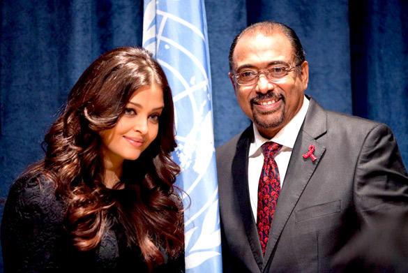 Aishwarya and Michel at UNAIDS Event
