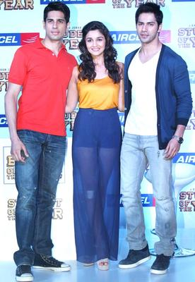 Siddharth,Alia and Varun at Promotional Event Of SOTY At The Launch Of The Aircel Contest