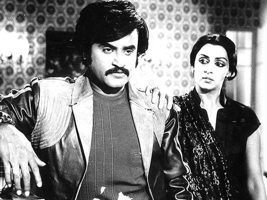 Hema Malini And Rajinikanth Still From Andha Kanoon