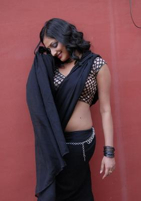 Haripriya Hot Black Saree Still At Abbai Class Ammai Mass Press Meet