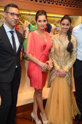 Sania And Nikhil Clicked At Shantanu And Nikhil Designer Store Launch