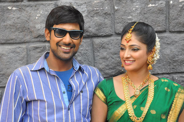 Haripriya And Varun Smiling Still At Abbai Class Ammai Mass Movie Location