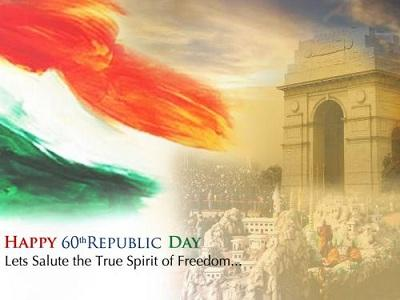 Republic Day Greeting Wallpaper With India Gate And Indian Flag
