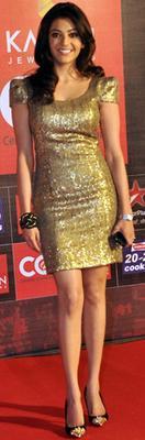 Kajal Looked Sexy In A Golden Mini Dress At Celebrity Cricket League Curtain Raiser 2013