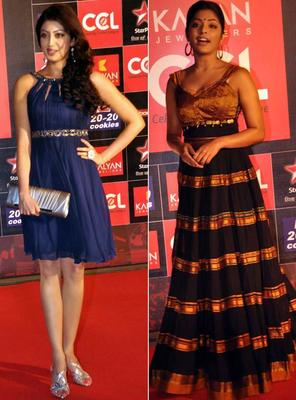 Rima And A South Actress Snapped On Red Carpet At Celebrity Cricket League Curtain Raiser 2013