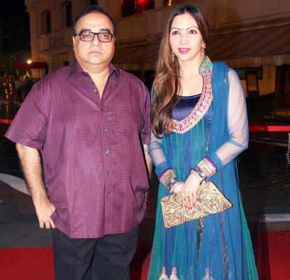 Rajkumar With Wife Manila Posed During The Anjan Shrivastav Son's Wedding Reception
