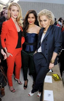 Freida With Rosie And Rita Posed For Camera At Burberry Fashion Show