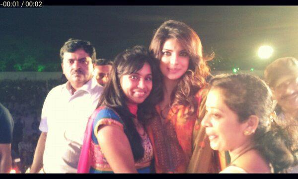 Priyanka With A Fan Pose Foor Camera At An Eye Donation Event In Pune