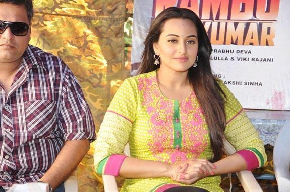 Sonakshi  Cute Smiling Photo Clicked At Rambo Rajkumar Press Meet In Gondal