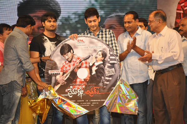 Sudheer Babu And Mahesh Babu Posed With Audio CD At Prema Katha Chitram Audio Release Function