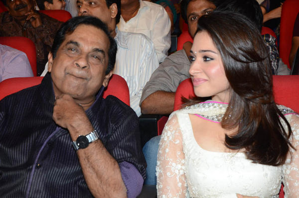 Brahmanandam And Tamannaah Chatting At Tadakha Movie Audio Launch Event