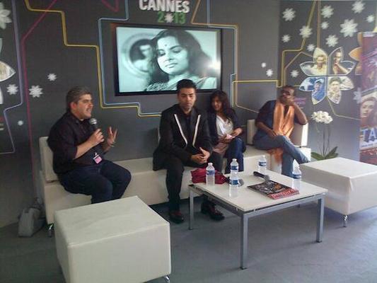 Karan Johar And Zoya Akhtar During The Press Conference Of Bombay Talkies at Cannes