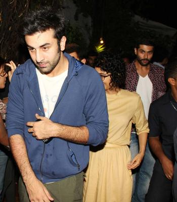 Amir Khan Ranbir And Kiran Snapped At Ship Of Theseus Screening
