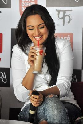 Sonakshi Sinha Enjoys A Coffee The Promotion Of The Movie Lootera Held At Cafe Coffee Day Outlet In Mumbai