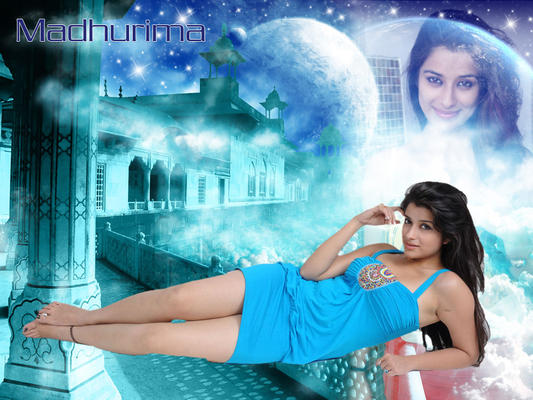 Madhurima In Short Blue Dress Sexy Look Wallpaper Photo Still
