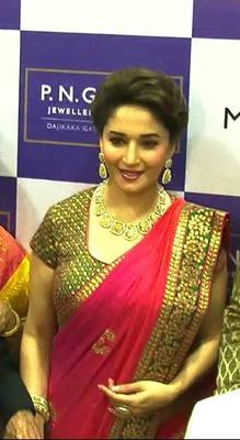 Madhuri Dixit Looks Red Hot During Jewellery Store Ingratiation