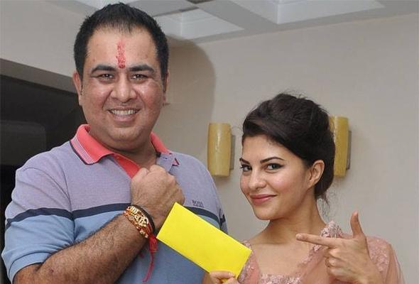 Sonu Pose With Rakhi And Jacqueline Pose With Her Gift During Raksha Bandhan Celebration