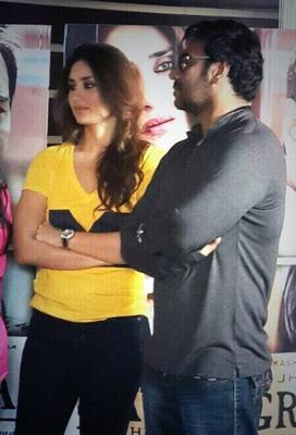 Kareena,Amrita,Ajay And Arjun Snapped At Satyagraha Promotions In Delhi