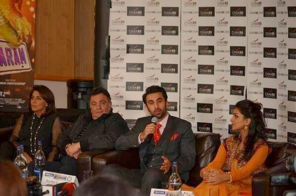 Ranbir, Rishi, Neetu, Pallavi At Besharam Promotions In London