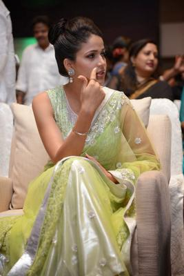 Lavanya In Light Yellow Green Transparent Saree Glamour Look During The Audio Release Function Of Doosukeltha Movie