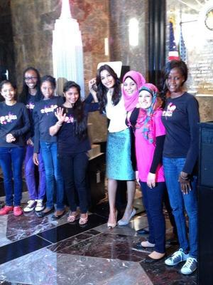 Actress Freida Pinto turned our tower lights pink for Plan International USA's