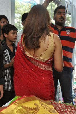Richa Gangopadhyay Wore A Sleeveless And Backbare Blouse At  Priyanka Stores Opening Event