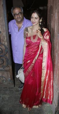 Sridevi And Boney Snapped After Karwa Chauth At Brother-In-Law Anil Kapoor's Residence
