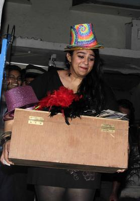 Charmy Kaur Cool Funny Look At Fanny Fernandes Movie Completion Bash